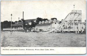 White Bear Lake, Minn. Postcard Pavilion & Roller Coaster Amusement Park 1912