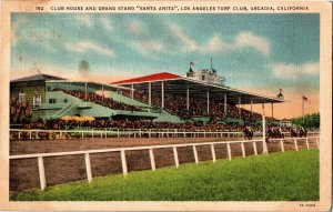 Club House, Grand Stand Santa Anita LA Turf Club Arcadia CA Vintage Postcard A23