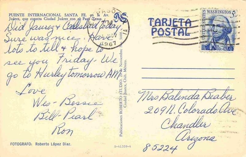 Puente Internacional Cars Santa Fe Ciudad Juarez Mexico 1967 postcard