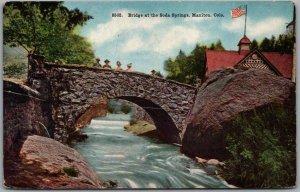 Manitou, Colorado Postcard Bridge at the Soda Springs Bath House / 1914 Cancel
