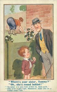 Postcard Comic Donald McGill no.3347 Where`s your sister, Tommy round behind !
