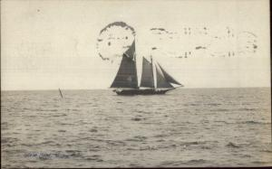 Sailing Ocean Point ME c1910 Real Photo Postcard
