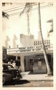 LP34  Waikiki Hawaii Postcard RP Theater Fredric March in Mark Twain
