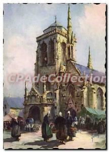 Old Postcard Locronan Finistere the church