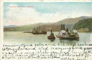 1907 New York Steamboat Towing Hudson New York undivided Postcard 20-2107