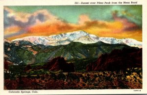Colorado Colorado Springs Sunset Over Pikes Peak From The Mesa Road