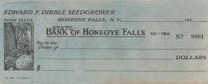 Edward Dibble Seedgrower Blank Check 1920s - Honeoye Falls, New York