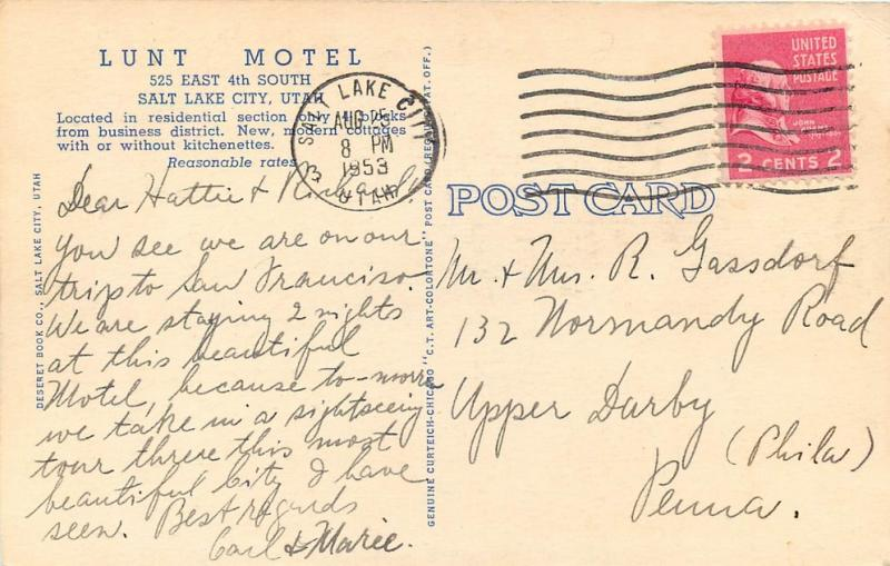 UT, Salt Lake City, Utah, Lunt Motel, Postmark 1953,