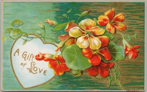 A Gift of Love Greeting Red Yellow Flowers Heart c1910 Antique Postcard D73