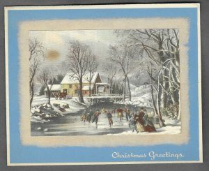 VINTAGE 1940s WWII ERA Christmas Greeting Holiday Card VICTORIAN ICE SKATERS