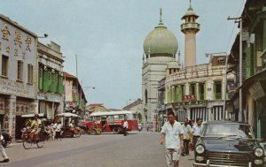 SINGAPORE, 1950-1960's; A Busy Street Scene, Masjid Sultan Mosque