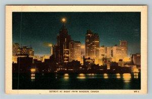 Windsor ON-Ontario Canada, Detroit At Night, Linen Postcard