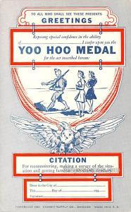 Military Comic Postcard, Old Vintage Antique Post Card Yoo Hoo Medal Unused
