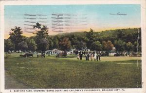 Pennsylvania Mahanoy City East End Park Showing Tennis Courts & Children&...