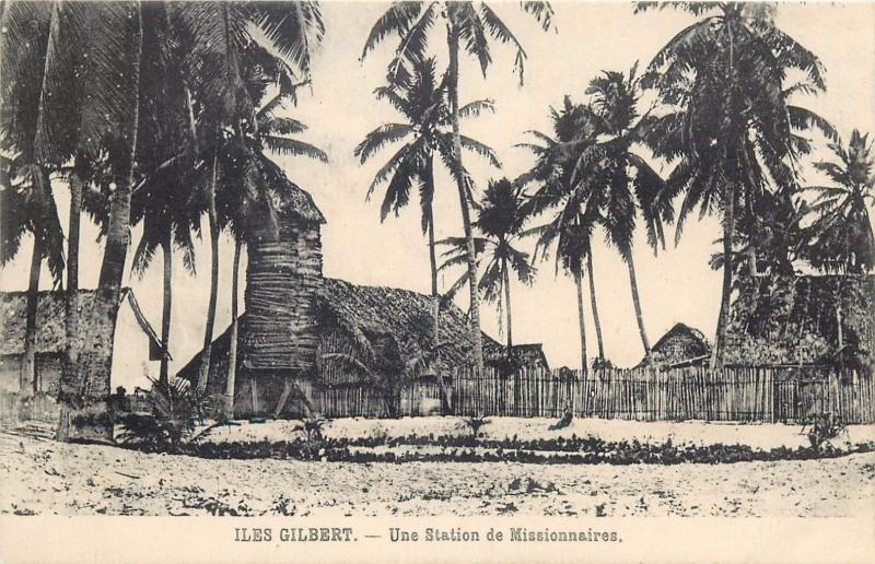 Gilbert Islands misionary village pacific Islands vintage postcard