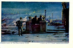 CA - San Francisco. 1906 Earthquake & Fire. Van Ness Ave. Ruins by Evening Light