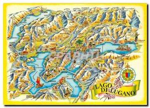Modern Postcard Lago di Lugano