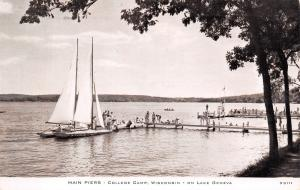 Lake Geneva Wisconsin~College Camp~Main Piers~Sailboats~Crowd~1951 CR Childs B&W