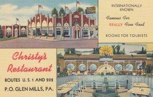 P.O. GLEN MILLS , Pennsylvania , 1930-40s ; Christy's Restaurant ; Version-2