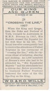 Cigarette Card Wills Our King and Queen No 24 Crossing the Line