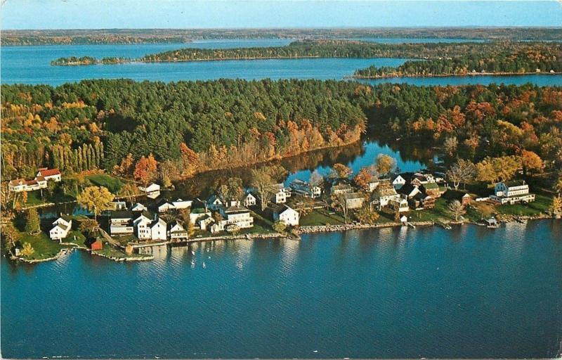 Belgrade Lakes Region Maine~Village Aerial View~Long Pond~1950s Postcard
