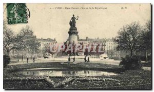Postcard Old Lyon Place Carnot Statue of the Republic