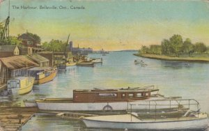 BELLEVILLE , Ontario, 1900-10s ; The Harbor, boats