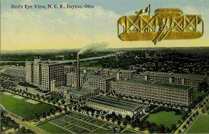 1914 Dayton Ohio Postcard: NCR Plant, Biplane Add-on, 4th of July Eyewitness