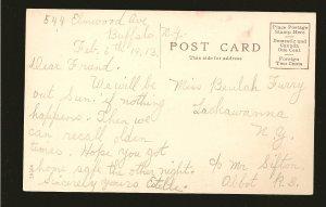 USA Dated 1913 Breakwater & Lighthouse Buffalo NY Color Postcard