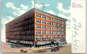 Kansas City, Missouri Postcard KANSAS HOTEL w/ Street Scene - 1909 MO Cancel