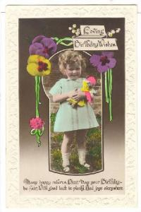 RP; Hand-tinted, Loving Birthday Wishes, Poem, Girl holding doll, pansies wit...