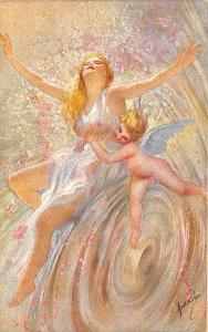 Artist Signed Semi-Nude Beautiful Woman Cupid Swirling Postcard