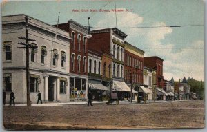 Warsaw, New York Postcard West Side of MAIN STREET Downtown Scene 1910s Unused