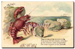Postcard Old Lobster Oysters