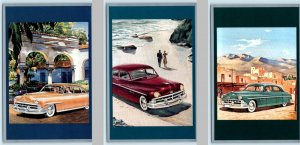 3 Vintage 1990 Postcards ~ 1950 LINCOLN AUTOMOBILE Advertising Touring America