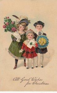 PFB 8066 ; CHRISTMAS , three Children , 1909