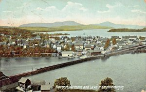 NEWPORT AND LAKE MEMPHREMAGOG VERMONT-BIRDS EYE VIEW-1909- POSTCARD