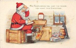 G7/ Santa Claus Christmas Postcard c1910 Workshop Toys Letter 12