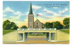View of Underpass and First Methodist Church, Henderson, North Carolina, 20-40