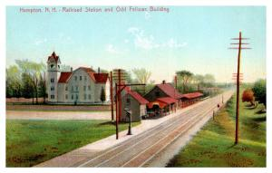 New Hampshire  Hampton , railroad Station and Odd Fellows Building