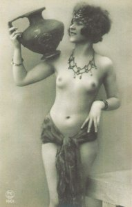 HR-10 - Handmade Risque Semi-Nude French Woman New Picture Postcard