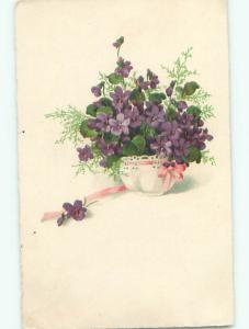 Very Old Foreign Postcard BEAUTIFUL FLOWERS SCENE AA4800