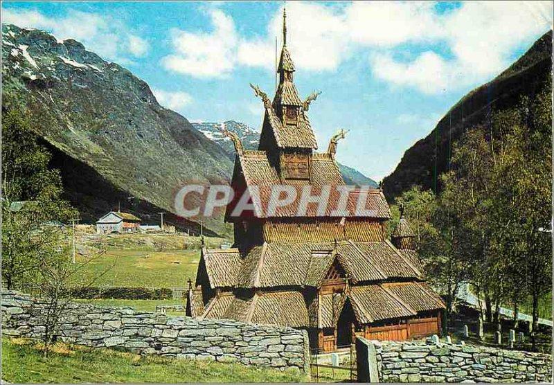 Postcard Modern Norway Borgund stave church