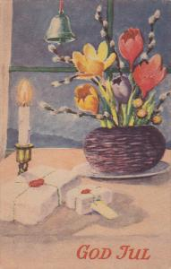 God Jul, Gifts, lit candle, Flowers in basket, bell, PU-1945