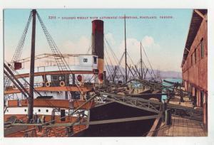 P1157 vintage postcard loading wheat on ship automatic conveyor portland oregon