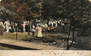 Titusville Pennsylvania~Fieldmore Park~Victorian Ladies & Kids on Boardwalk~1906