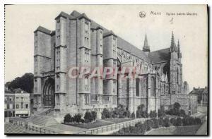 Postcard Old Church Mons Sainte Waudru