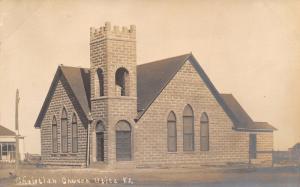 Utica Kansas~Newly Constructed Christian Church~House & Farm~c1908 RPPC