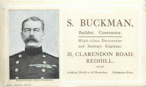 Field-Marshal Earl Kitchener advertising card S. Buckman cuilder, constructor