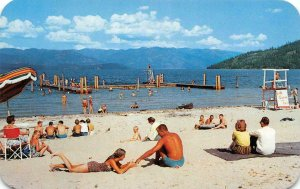 Municipal Beach, Lake Pend Oreille, Sandpoint, Idaho c1950s Vintage Postcard